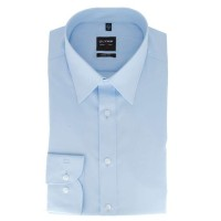 Chemise OLYMP Level Five body fit UNI POPELINE bleu clair avec col New York Kent en coupe étroite