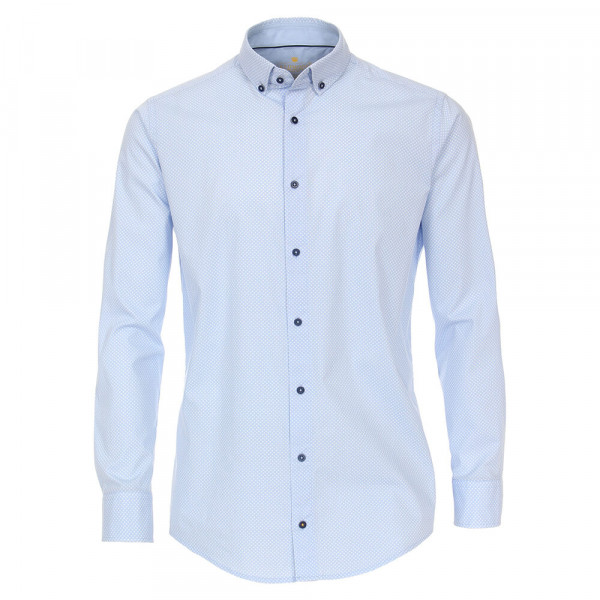 Chemise Redmond MODERN FIT UNI STRETCH bleu clair avec col Button Down en coupe moderne
