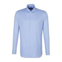 Chemise Seidensticker SHAPED TWILL bleu clair avec col Spread Kent en coupe moderne