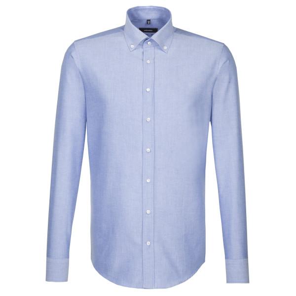 Chemise Seidensticker SHAPED BEAUX OXFORD bleu clair avec col Button Down en coupe moderne