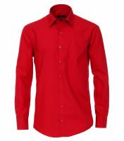Chemise Venti MODERN FIT UNI POPELINE rouge avec col Kent en coupe moderne