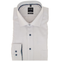 Chemise OLYMP Luxor modern fit STRUCTURE blanc avec col Global Kent en coupe moderne
