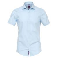 Chemise Redmond SLIM FIT UNI STRETCH bleu clair avec col Kent en coupe étroite