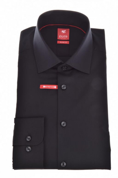 """Chemise Pure """"Slim Fit Stretch"""" noire, col kent, coupe moderne"""