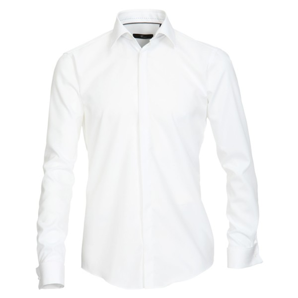 """Chemise Venti """"Popeline"""" blance, col kent, patte cachée, coupe moderne"""