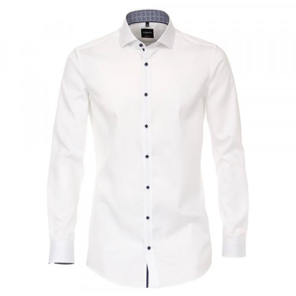 Chemise Venti BODY FIT TWILL blanc avec col Italien en coupe étroite