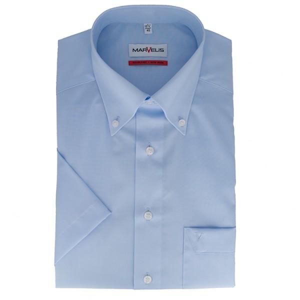 Chemise Marvelis COMFORT FIT UNI POPELINE bleu clair avec col Button Down en coupe classique