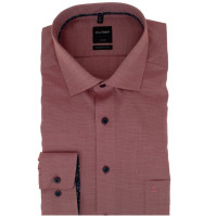 Chemise OLYMP Luxor modern fit STRUCTURE rouge avec col Global Kent en coupe moderne