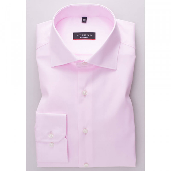 Chemise Eterna MODERN FIT TWILL rose avec col Classic Kent en coupe moderne