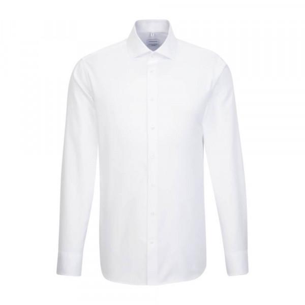 Chemise Seidensticker SHAPED TWILL blanc avec col Spread Kent en coupe moderne