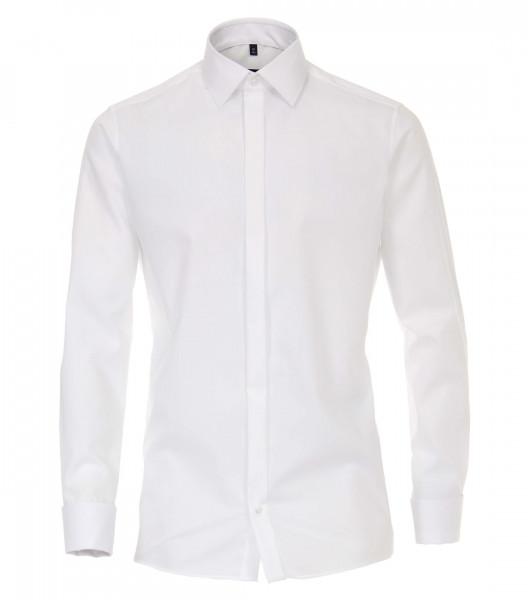 Chemise CASAMODA MODERN FIT UNI POPELINE blanc avec col Kent en coupe moderne