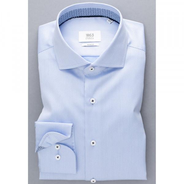 Chemise Eterna SLIM FIT STRUCTURE bleu clair avec col Italien en coupe étroite
