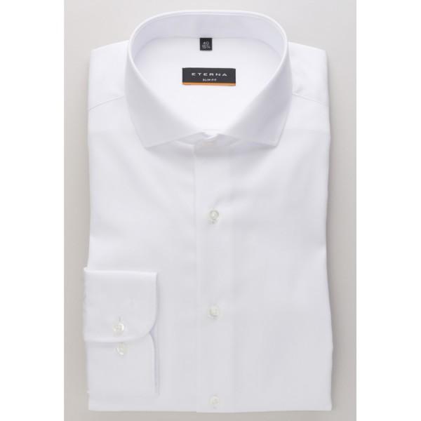 Chemise Eterna SLIM FIT TWILL blanc avec col Italien en coupe étroite