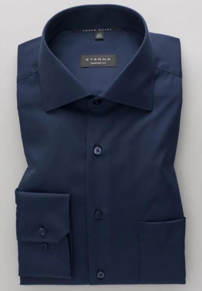 Chemise Eterna COMFORT FIT TWILL bleu foncé avec col Classic Kent en coupe classique