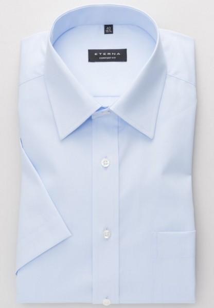Chemise Eterna COMFORT FIT UNI POPELINE bleu clair avec col Kent de base en coupe classique