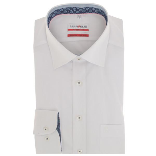 Chemise Marvelis MODERN FIT UNI POPELINE blanc avec col Nouveau Kent en coupe moderne
