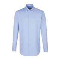 Chemise Seidensticker REGULAR TWILL bleu clair avec col Spread Kent en coupe moderne