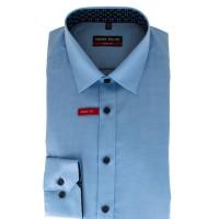 Chemise Marvelis BODY FIT STRUCTURE bleu clair avec col New York Kent en coupe étroite