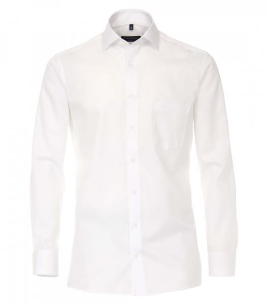 Chemise CASAMODA COMFORT FIT TWILL blanc avec col Kent en coupe classique