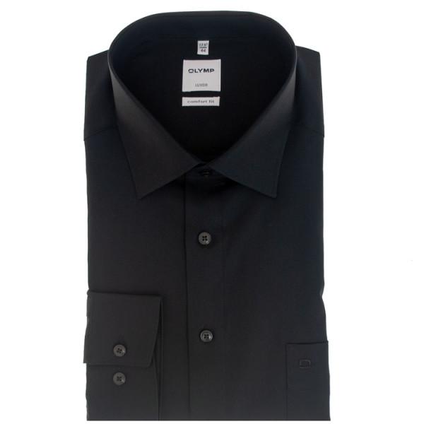 Chemise OLYMP Luxor comfort fit UNI POPELINE noir avec col Nouveau Kent en coupe classique
