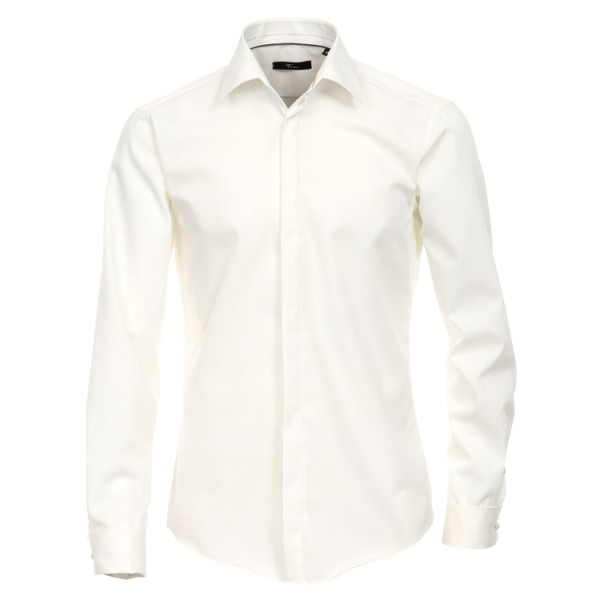 """Chemise Venti """"Popeline"""" beige, col kent, patte cachée, coupe moderne"""