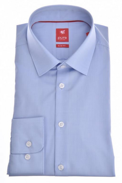 """Chemise Pure """"Slim Fit Stretch"""" bleue clair, col kent, coupe moderne"""