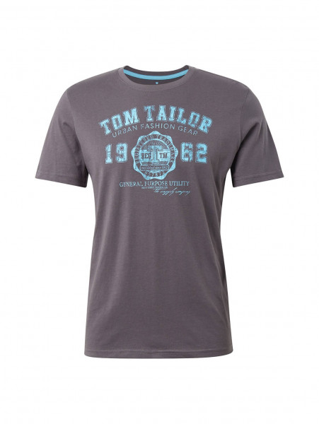 T-shirt Tom Tailor anthracite en coupe classique