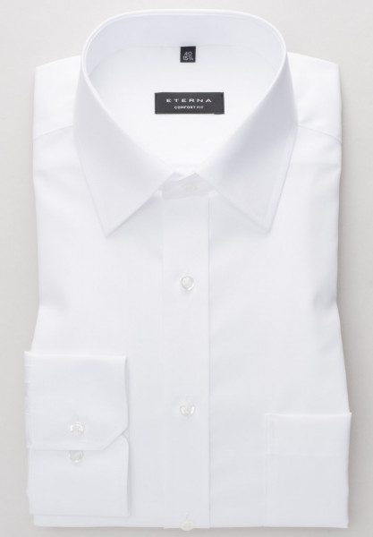 Chemise Eterna COMFORT FIT UNI POPELINE blanc avec col Kent de base en coupe classique