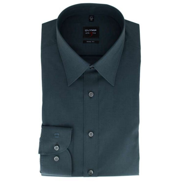 Chemise OLYMP Level Five body fit CHAMBRAY anthracite avec col New York Kent en coupe étroite
