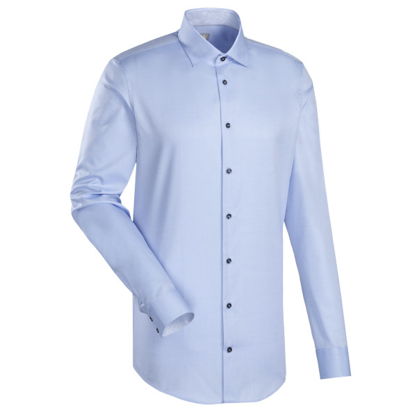 Chemise Jacques Britt SLIM FIT TWILL bleu clair avec col Kent en coupe étroite