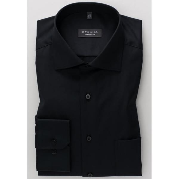 Chemise Eterna COMFORT FIT TWILL noir avec col Classic Kent en coupe classique