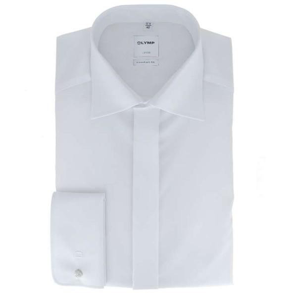 Chemise OLYMP Luxor soirée comfort fit UNI POPELINE blanc avec col Nouveau Kent en coupe classique