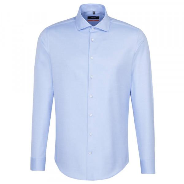 Chemise Seidensticker SLIM FIT TWILL bleu clair avec col Spread Kent en coupe étroite