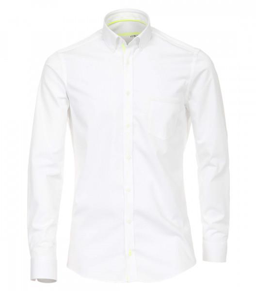 Chemise Venti MODERN FIT UNI POPELINE blanc avec col Button Down en coupe moderne