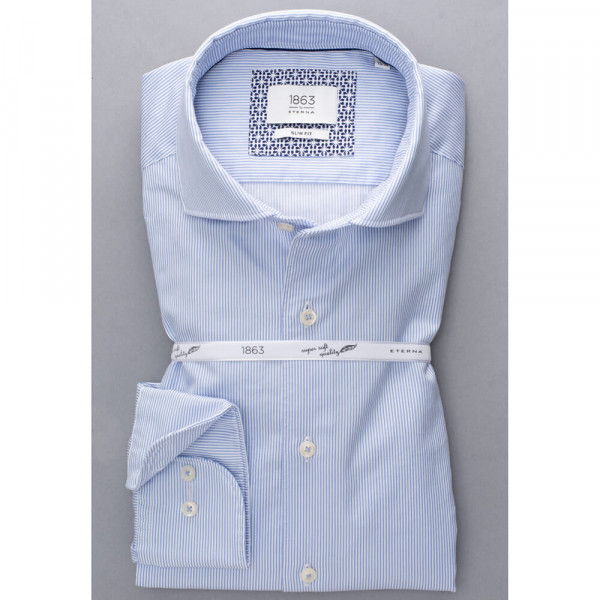 Chemise Eterna SLIM FIT UNI STRETCH bleu clair avec col Italien en coupe étroite