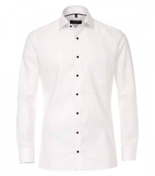 Chemise CASAMODA MODERN FIT STRUCTURE blanc avec col Kent en coupe moderne