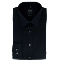 Chemise OLYMP Level Five body fit UNI POPELINE noir avec col New York Kent en coupe étroite
