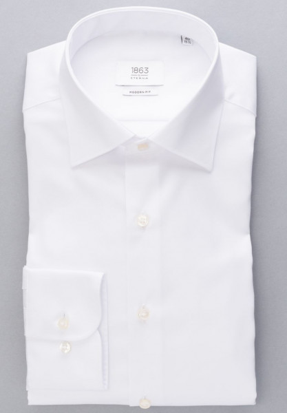 Chemise Eterna MODERN FIT TWILL blanc avec col Classic Kent en coupe moderne