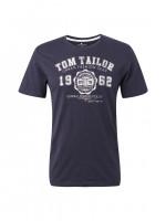 T-shirt Tom Tailor bleu foncé en coupe classique