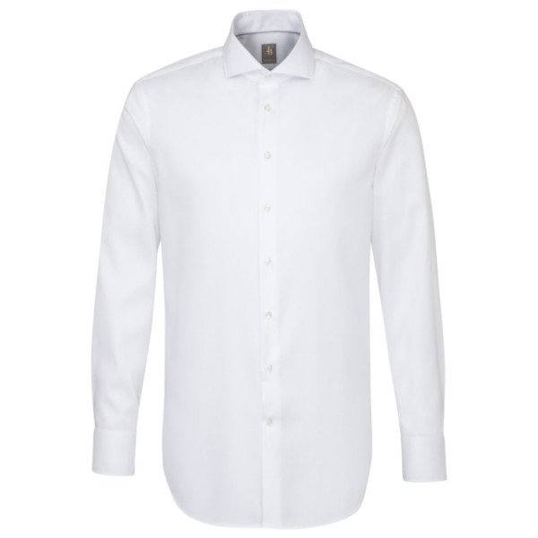 Chemise Jacques Britt CUSTOM FIT TWILL blanc avec col Italien en coupe moderne
