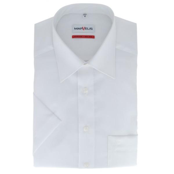 Chemise Marvelis COMFORT FIT UNI POPELINE blanc avec col Kent en coupe classique