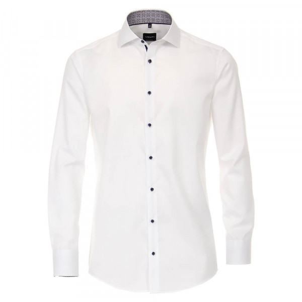 Chemise Venti MODERN FIT TWILL blanc avec col Italien en coupe moderne