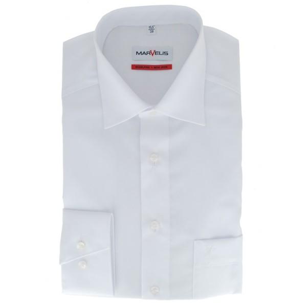 Chemise Marvelis COMFORT FIT UNI POPELINE blanc avec col Nouveau Kent en coupe classique