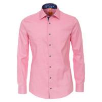 Chemise Redmond MODERN FIT STRUCTURE rose avec col Kent en coupe moderne