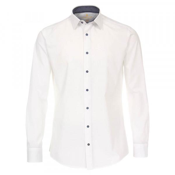 Chemise Redmond MODERN FIT UNI STRETCH blanc avec col Kent en coupe moderne
