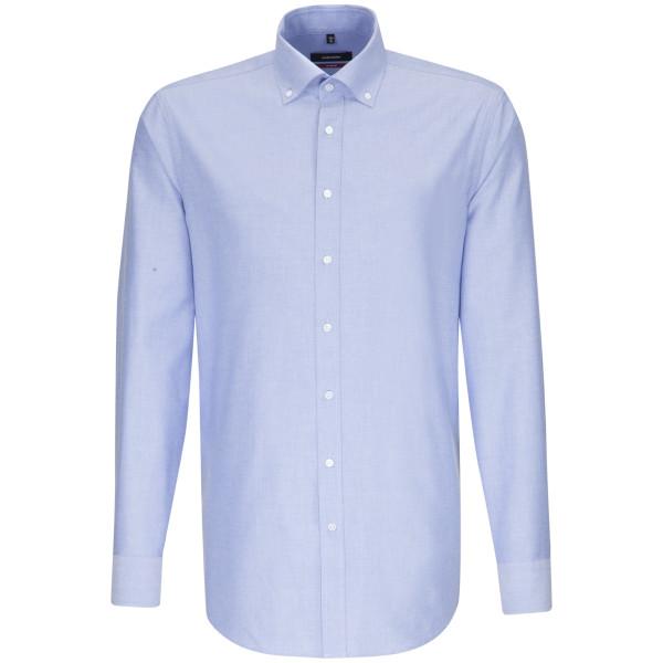 Chemise Seidensticker REGULAR BEAUX OXFORD bleu clair avec col Button Down en coupe moderne