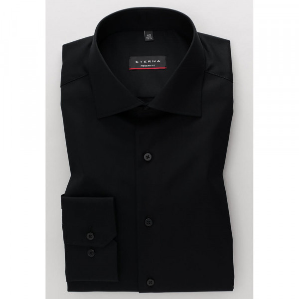 Chemise Eterna MODERN FIT TWILL noir avec col Classic Kent en coupe moderne