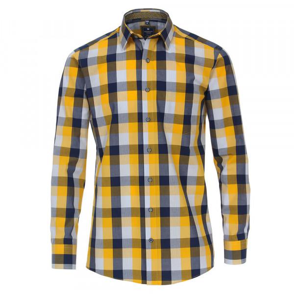 Chemise Redmond REGULAR FIT UNI POPELINE jaune avec col Kent en coupe classique