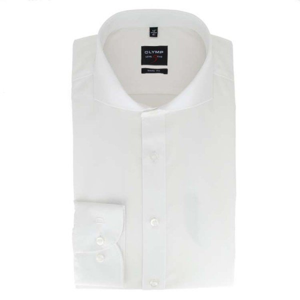 Chemise OLYMP Level Five body fit TWILL blanc avec col Italien en coupe étroite