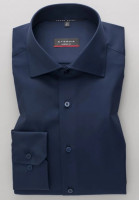 Chemise Eterna MODERN FIT TWILL bleu foncé avec col Classic Kent en coupe moderne